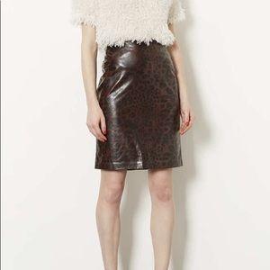 Topshop Faux Leather Leopard Pencil Skirt